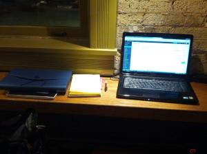 My work station today at the Lakefront Colectivo Coffee Cafe.